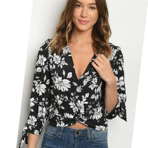 - MIDNIGHT SKY TIE BACK FLORAL TOP WOMENS